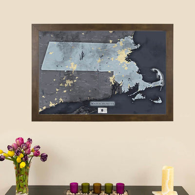 Push Pin Travel Maps Slate Gray Massachusetts Pin Map with Pins Main Image