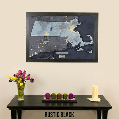 Push Pin Travel Maps Massachusetts Slate Travel Map Rustic Black Frame
