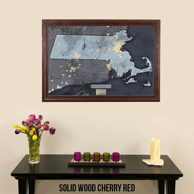 Push Pin Travel Maps Massachusetts Slate Travel Map Solid Wood Cherry Frame