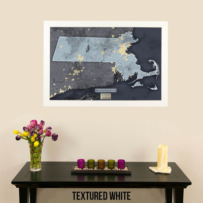 Push Pin Travel Maps Massachusetts Slate Travel Map Textured White Frame with Pins