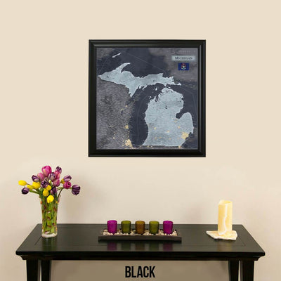 Push Pin Travel Maps Michigan Slate Travel Map with Pins Traditional Black Frame