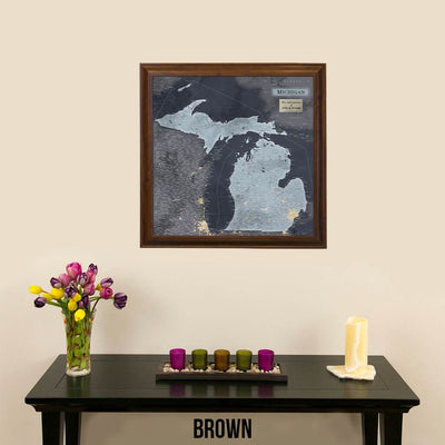 Push Pin Travel Maps Michigan Slate Travel Map with Pins Beveled Brown Frame