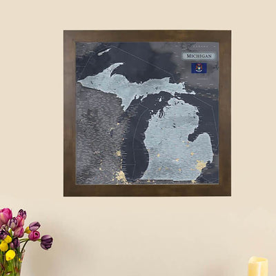 Push Pin Travel Maps Michigan Slate State Travel Map with Pins Main Image