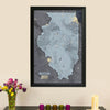 Push Pin Travel Maps Illinois Slate Map with Pins Main Image