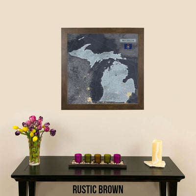 Push Pin Travel Maps Michigan Slate Travel Map Rustic Brown Frame