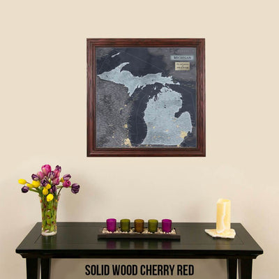 Push Pin Travel Maps Michigan Slate Travel Map Solid Wood Cherry Frame