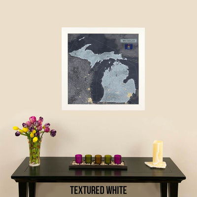 Push Pin Travel Maps Michigan Slate Travel Map Attractive Textured White Frame with Pins
