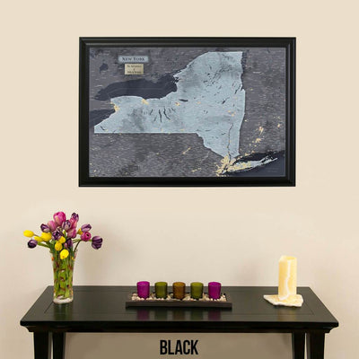 Push Pin Travel Maps New York Slate Travel Map with Pins in Black Frame