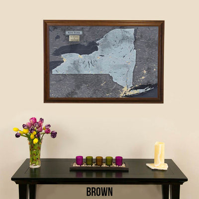 Push Pin Travel Maps New York Slate Travel Map Shown in Brown Frame
