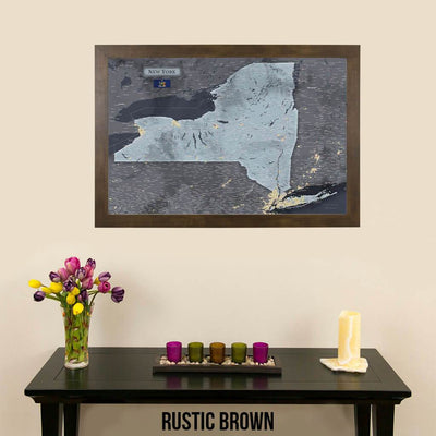 Push Pin Travel Maps New York Slate Travel Map Rustic Brown Frame