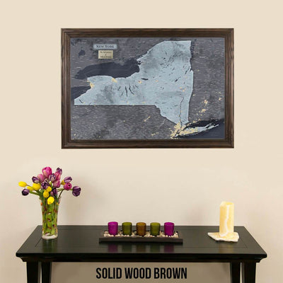 Push Pin Travel Maps New York Slate Travel Map Solid Wood Brown Frame