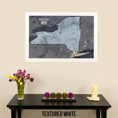 Push Pin Travel Maps New York Slate Travel Map Textured White Frame