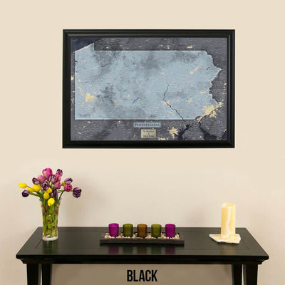 Push Pin Travel Maps Pennsylvania Slate Map with Pins Black Frame