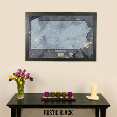 Push Pin Travel Maps Pennsylvania Slate Map with Pins Rustic Black Frame