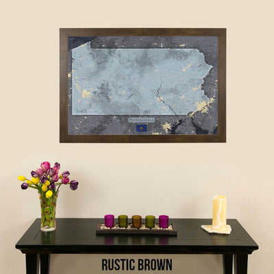 Push Pin Travel Maps Pennsylvania Slate Map with Pins Rustic Brown Frame