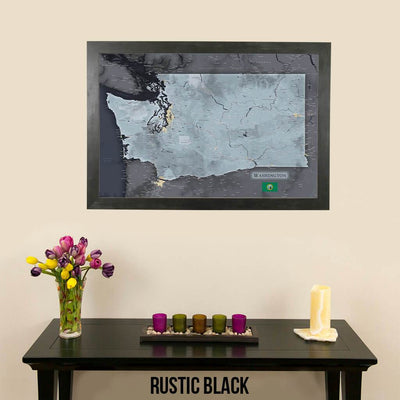 Push Pin Travel Maps Washington State Slate Map with Pins Rustic Black Frame