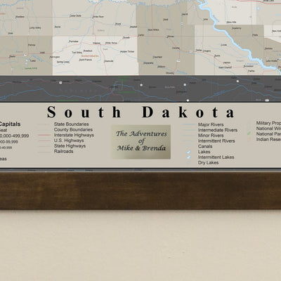 Earth Toned South Dakota Framed Pin Map Personalized Plaque Closeup
