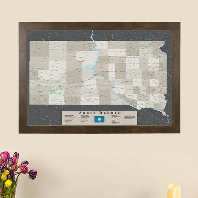 Earth Toned South Dakota Framed Pin Map main image