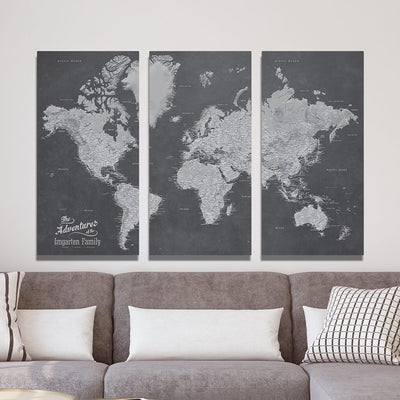 3 Panel Stormy Dream World Canvas Map