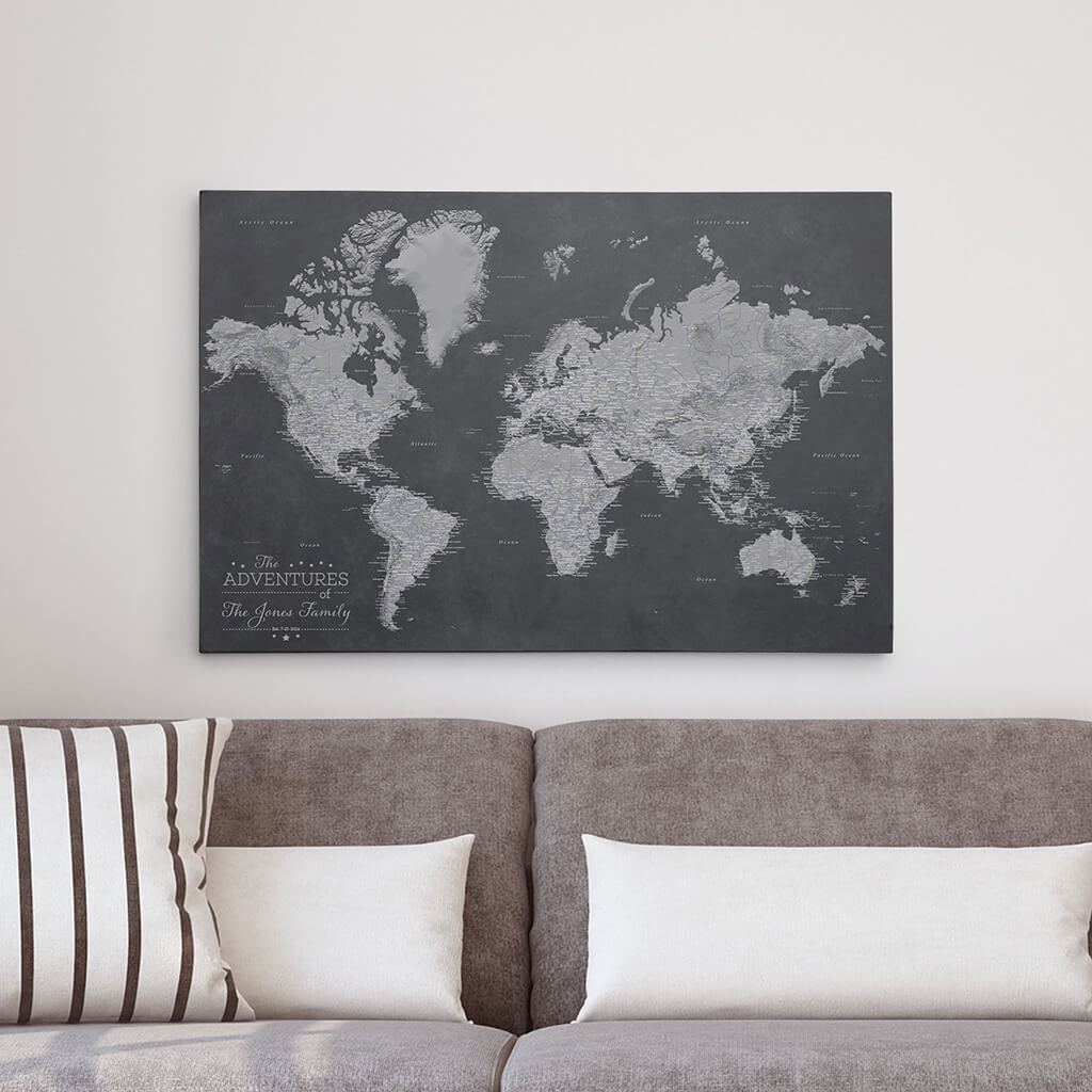 Stormy Dreams World Push Pin Map Printed on Canvas