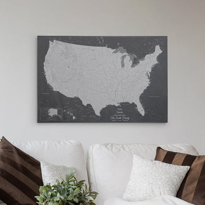 24x36 Gallery Wrapped Canvas Stormy Dreams USA Map