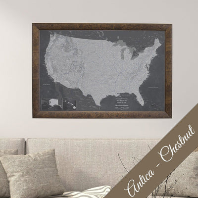 Canvas - Stormy Dreams USA Travel Map with pins