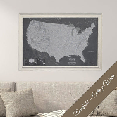 Canvas Stormy Dreams USA Wall Map in Brimfield Cottage White Premium Frame