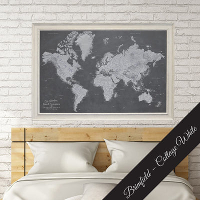 Canvas Stormy Dreams World Map Premium Brimfield Cottage White Solid Wood Frame