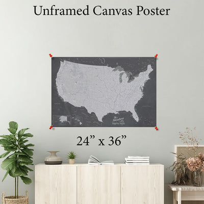 Stormy Dream USA Canvas Poster Map 24 x 36