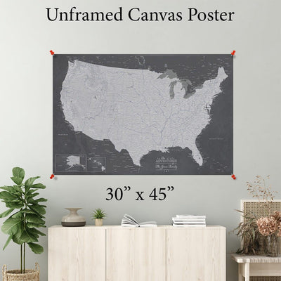 Stormy Dream USA Canvas Poster Map 30 x 45