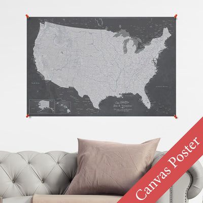 Stormy Dream USA Canvas Poster Map