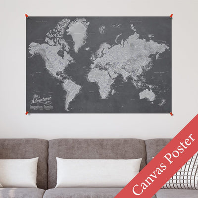 Stormy Dream World Canvas Poster Map