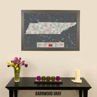 Earth Toned Tennessee Framed Pinboard Map Barnwood Gray Frame