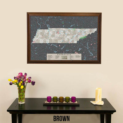 Earth Toned Tennessee Framed Pinboard Map Brown Frame