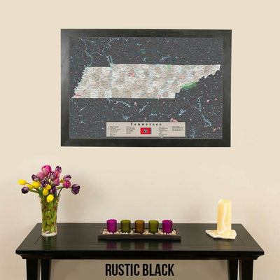 Earth Toned Tennessee Framed Pinboard Map Rustic Black Frame