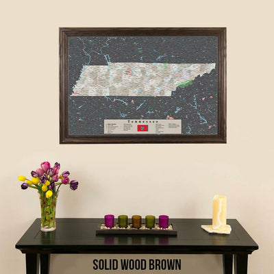 Earth Toned Tennessee Framed Pinboard Map Solid Wood Brown Frame
