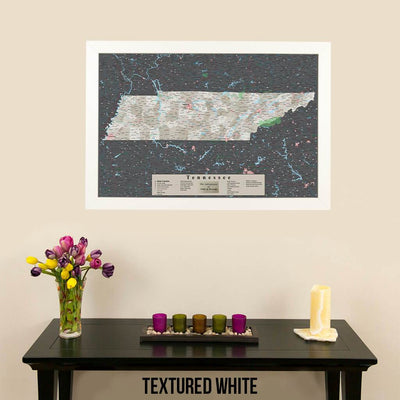 Earth Toned Tennessee Framed Pinboard Map Textured White Frame