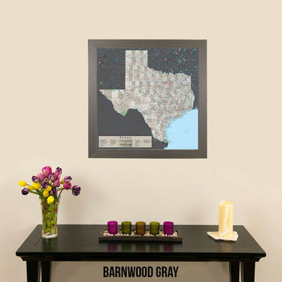 Earth Toned Texas Push Pin Travel Map Barnwood Gray Frame