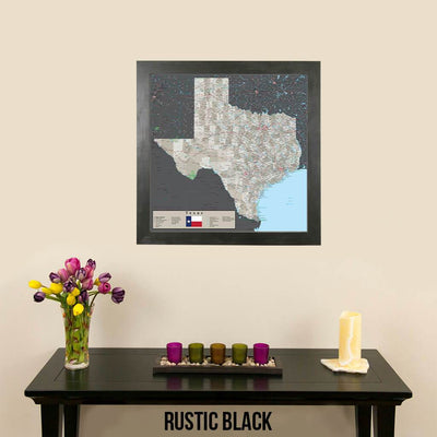 Earth Toned Texas Push Pin Travel Map Rustic Black
