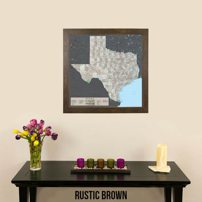 Earth Toned Texas Push Pin Travel Map Rustic Brown