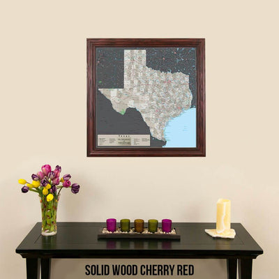 Earth Toned Texas Push Pin Travel Map Solid Wood Cherry Frame