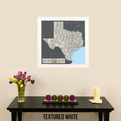 Earth Toned Texas Push Pin Travel Map Textured White Frame