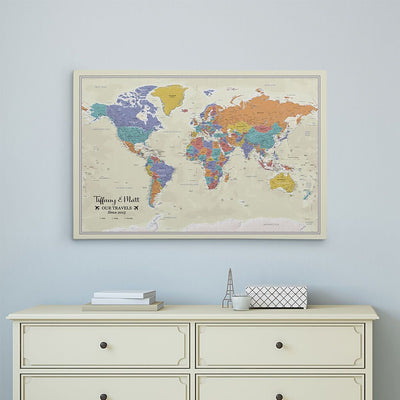 Gallery Wrapped Tan Oceans World Map