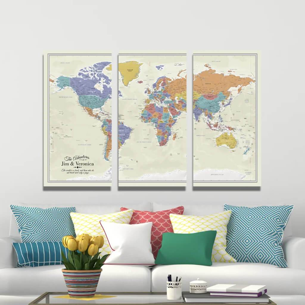 Extra Large 3 Panel Canvas Wall Map with Pins - Tan Oceans World
