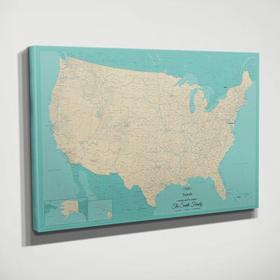 Frameless Teal Dream USA Map with Pins