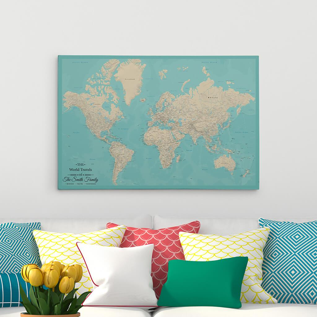 24x36 Gallery Wrapped Teal Dream World Push Pin Travel Map