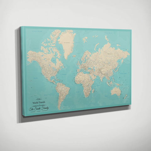 Gallery Wrapped Teal Dream World Push Pin Travel Map