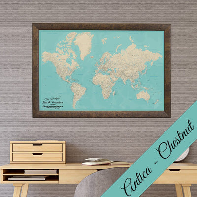 Canvas - Teal Dream World Push Pin Map with Pins