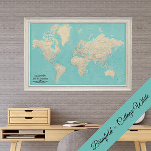 Canvas Teal Dream World Travel Map with Brimfield Cottage White Frame