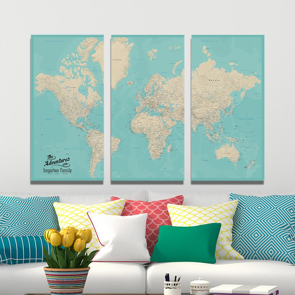 Teal Dream 3 Panel Gallery Wrap Canvas World Map